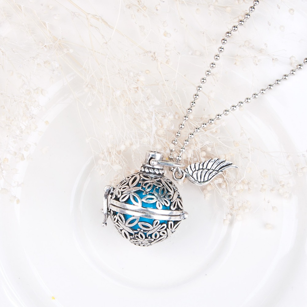Pregnancy Baby Wish Box butterfly Pendants with blue sounding beads Copper Silver tone Fashion Necklace 54cm,1 Piece 2016 new(China (Mainland))