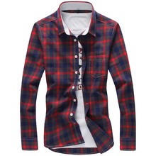 2016 Plaid Shirts Men M-5XL Red Cool Design Full Length Quality Summer Autumn Dress Shirts Camisa Masculina Plus Size Men Shirt