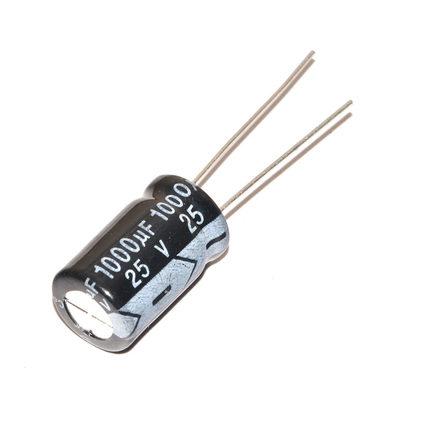 Pengiriman gratis 100 pcs 1000 uF 25 V frekuensi tinggi Radial Electrolytic kapasitor, 10 * 17 mm IC c1(China (Mainland))