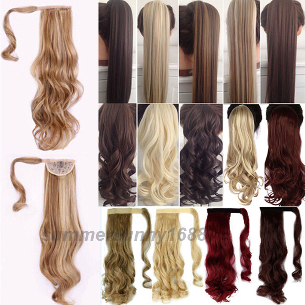 UK SELLER Clip In Pony Tail Hair Extension Wrap Around Ponytail Hair Extension Piece 18 Curly/Wavy Style FREE SHIPPING<br><br>Aliexpress