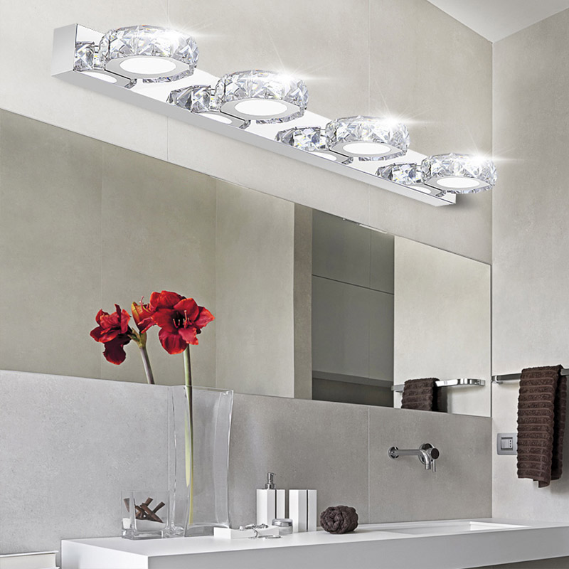 Modern K9 Crystal LED Bathroom Make up Mirror Light Cool White Wall Sconces Lamp 90 260v ...