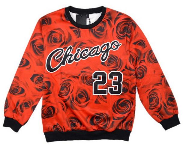 Chicago Jordan 23 letter brooklyn carter print 3d sweatshirts rose floral sportswear fashion hoodies women/men Free shipping(China (Mainland))