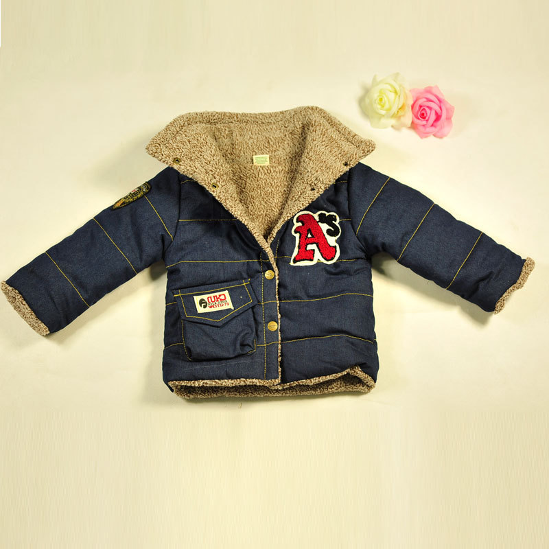 2015 Spring and Autumn boys clothing fleece thickening outerwear children garment jeancoat SCB-3001 free shipping $15.99(China (Mainland))