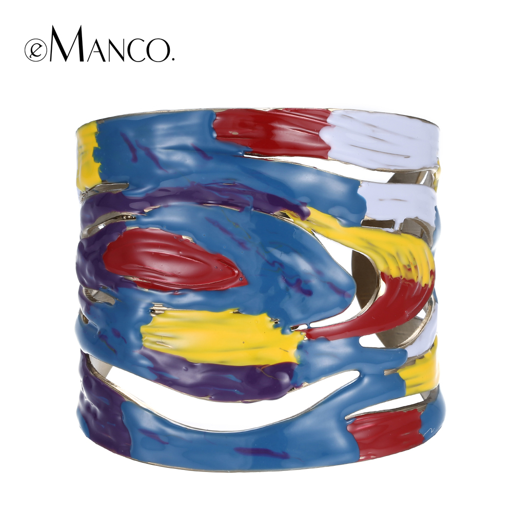 Cuff opening bangle zinc alloy big bracelet 2016 hand painted enamel wide bangles for women colorful hand jewelry eManco BL06829(China (Mainland))