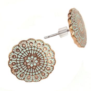 Brincos круглый цветок красочные эмали сплава серьги стержня для женщин ретро серьги