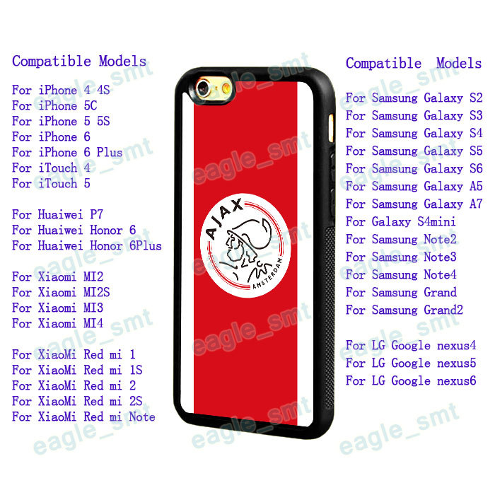 AFC Ajax Soccer Case for iPhone 4 4S 5C 5S 6 6Plus Samsung S3 S4 S5 S6 A5/7 Note2/3/4 Huaiwei Xiaomi Football Mobile Case(China (Mainland))