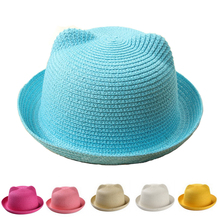 2016 New Baby Straw Hat Summer Kids Cat Ear Decoration Lovely Beach Cap Children Character Girls Boys Solid Sun Hat  casquette(China (Mainland))