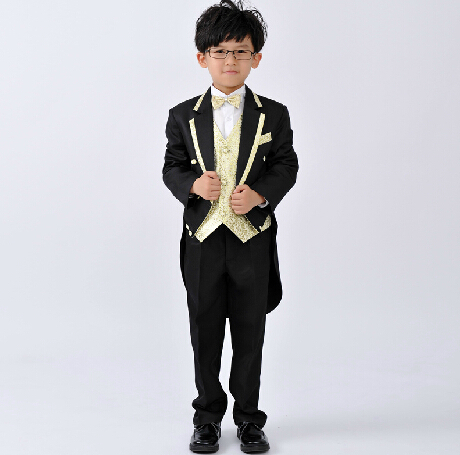 2015 New Children's Stage Clothes Flower Girl Dresses Tuxedo Suit Boys Wedding Clothes Boys Tuxedo Kids Tuxedo B5962(China (Mainland))