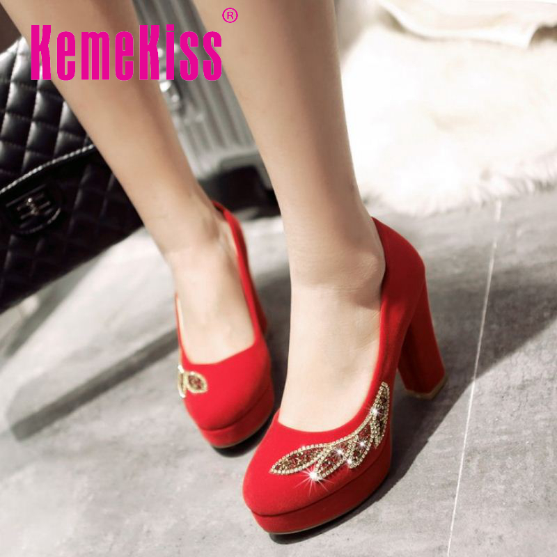 women suede leather wedding pumps square heel round toe wedding footwear appliques elegant heeled shoes size 32-43 P23137<br><br>Aliexpress