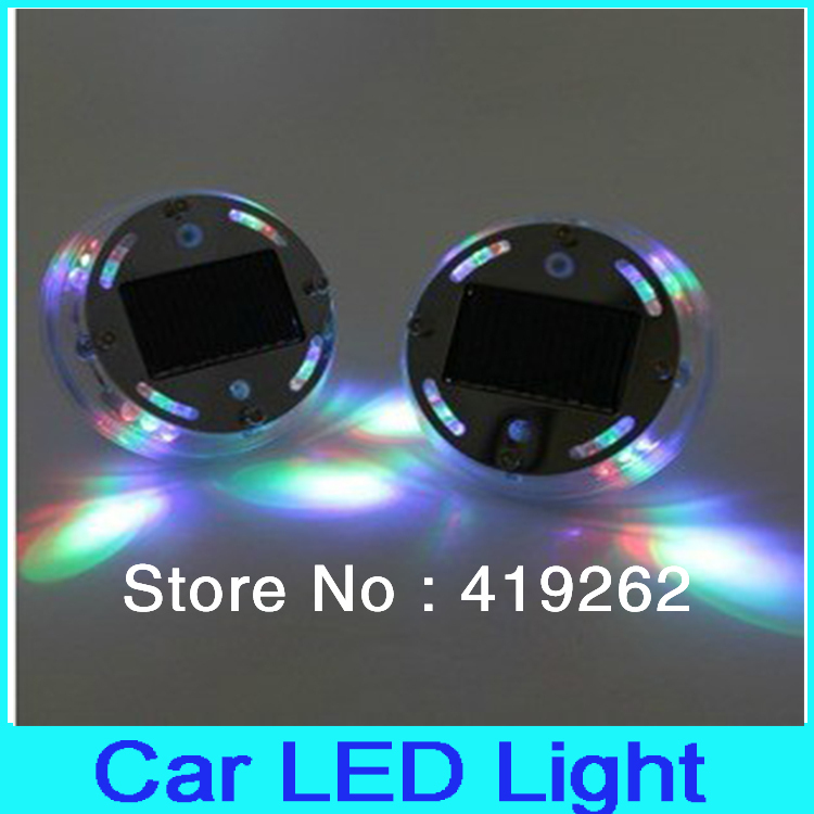 1pc Free shipping Solar Power High performance 12 leds car led flashing lights lamps wheel lights for decoration(China (Mainland))