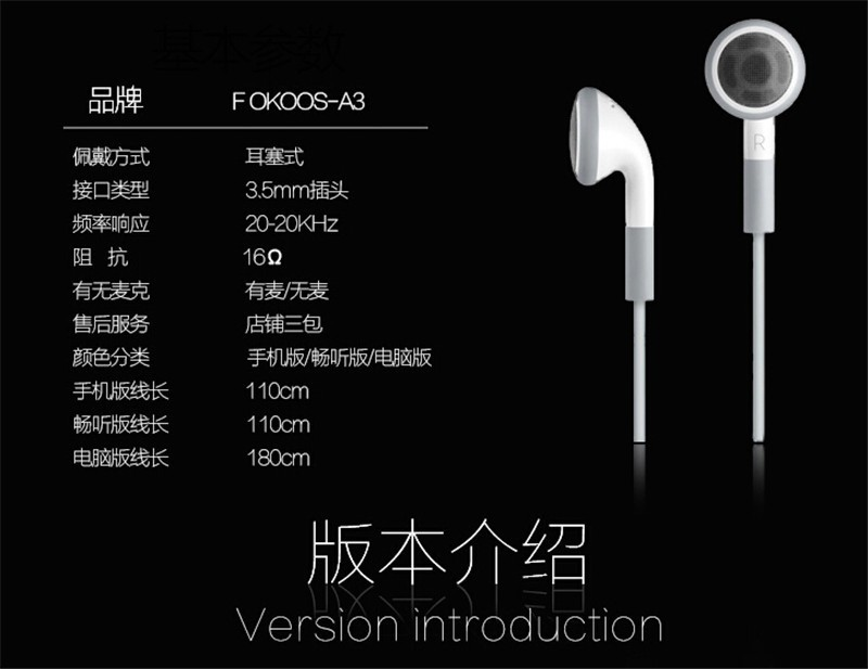 Best quality para stereo Earphone noise canceling earbuds With Mic and voice control  for Apple iPhone 4 4S