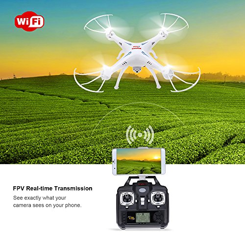 EBOYU(TM) Syma X5SW X5SW-1 2.4G 4CH 6-axis Gyro RC Wifi FPV Quadcopter 0.3MP Camera Drone with Two Extra Batteries