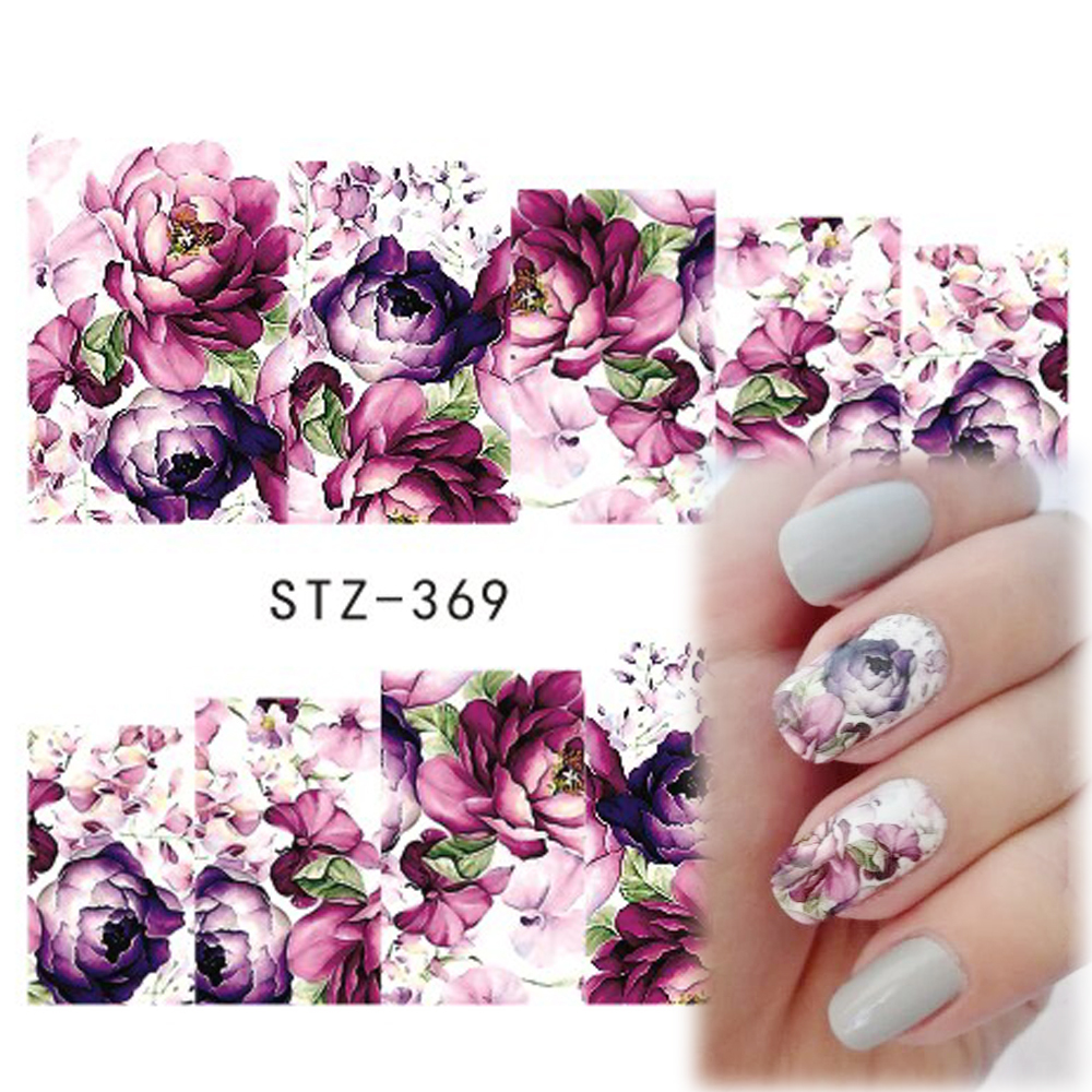 1pcs Hot Beauty Nail Art Decals Flowers Designs Purple Rose Full Cover Tips Full Patch Nail Sticker Decoration Tools STZ369(China (Mainland))