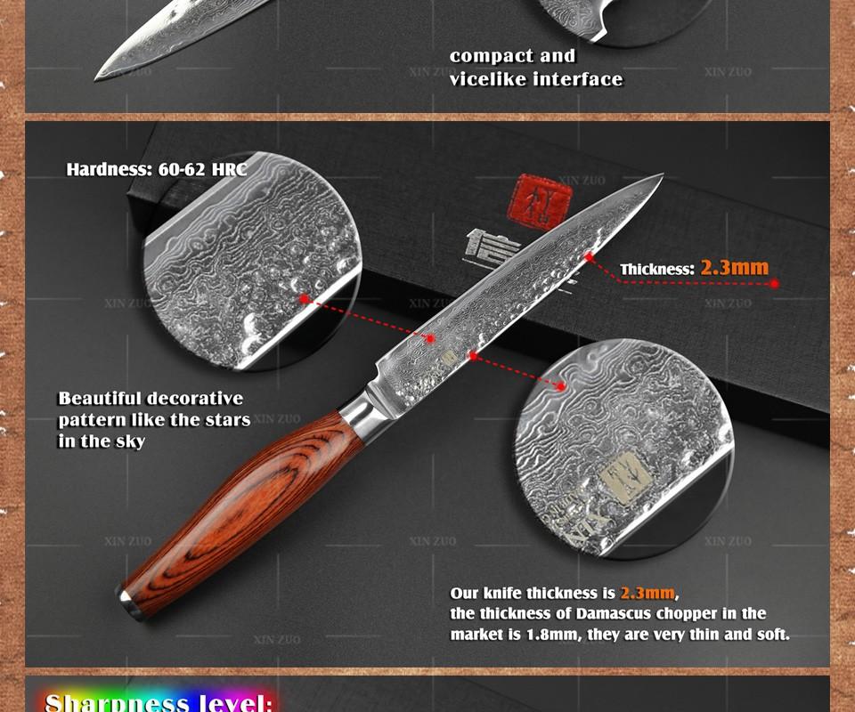 Buy 2 pcs kitchen knives set 73 layers Japanese VG10 Damascus kitchen knife very sharp chef utility knife wood handle free shipping cheap