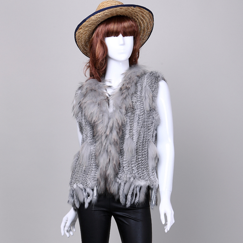 Women Genuine Natural Real rabbit fur Knitted Vests /Waistcoat/ gilet /coats with tassels Raccoon Dog Fur collar wholesale(China (Mainland))