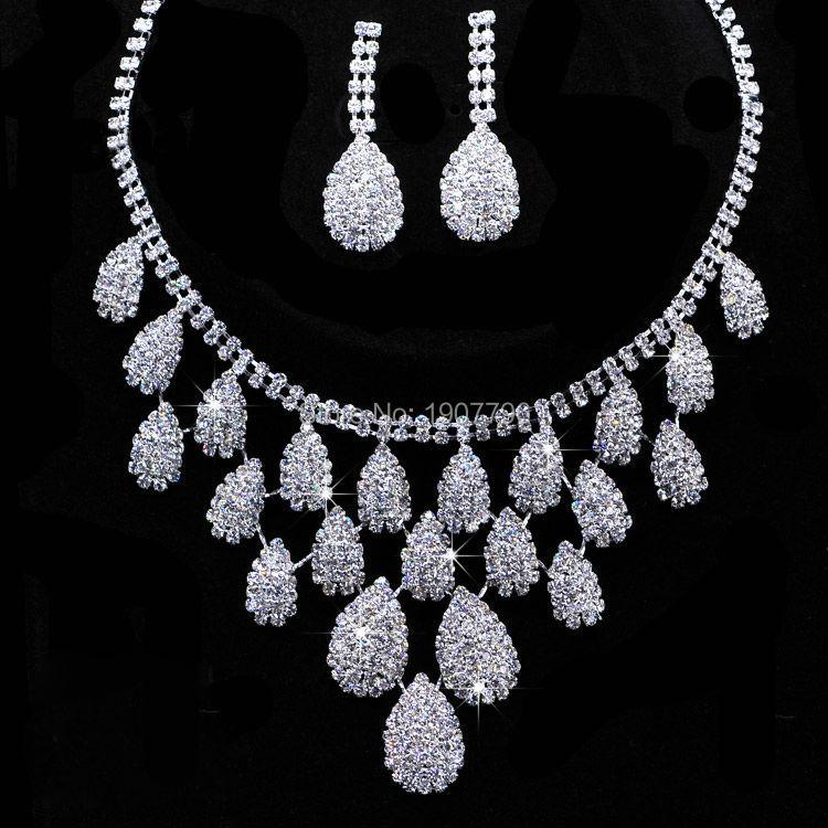 lot Shining Wedding Bridal Jewelry Sets Gift Set Tear Drop Necklace Set Jewelery Sets Crystal<br><br>Aliexpress