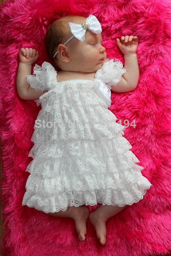 Newborn Baby Girls Dresses 2015 White Christening Baby Dress Blessing Petti Lace Ruffle Girls Dress Infant Clothes(China (Mainland))