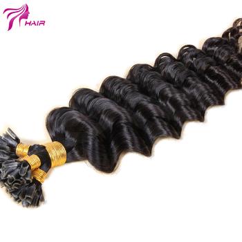 Indian Virgin Hair Deep Wave U Tip Keratin Hair Fusion Human Hair Extension Natural Color Nail Tip Pre Bonded Hair Extensions