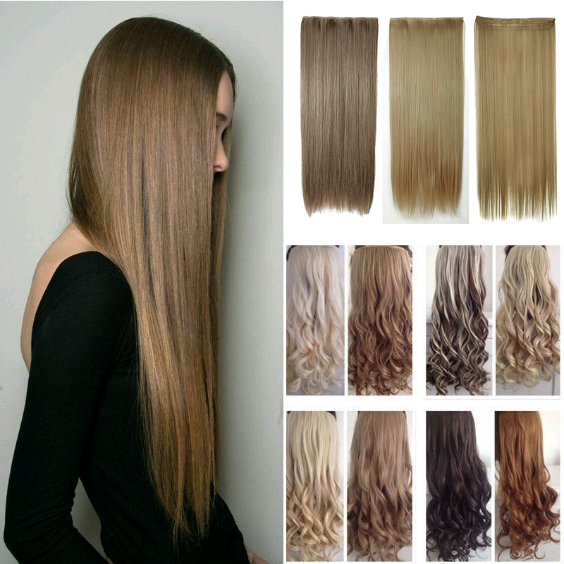 """New Real Long 23""""-30"""" Half Full Head Hairpiece Clip in Hair Extensions Clip on Hair Piece 58-76cm 145g Mega Thick Hair Extension(China (Mainland))"""