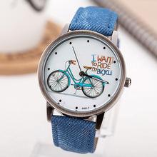 Moda Bike correa de tela reloj Casual Watch women Watch vestido Vintage bicicleta de dibujos animados reloj del cuarzo analógico relogio-w021
