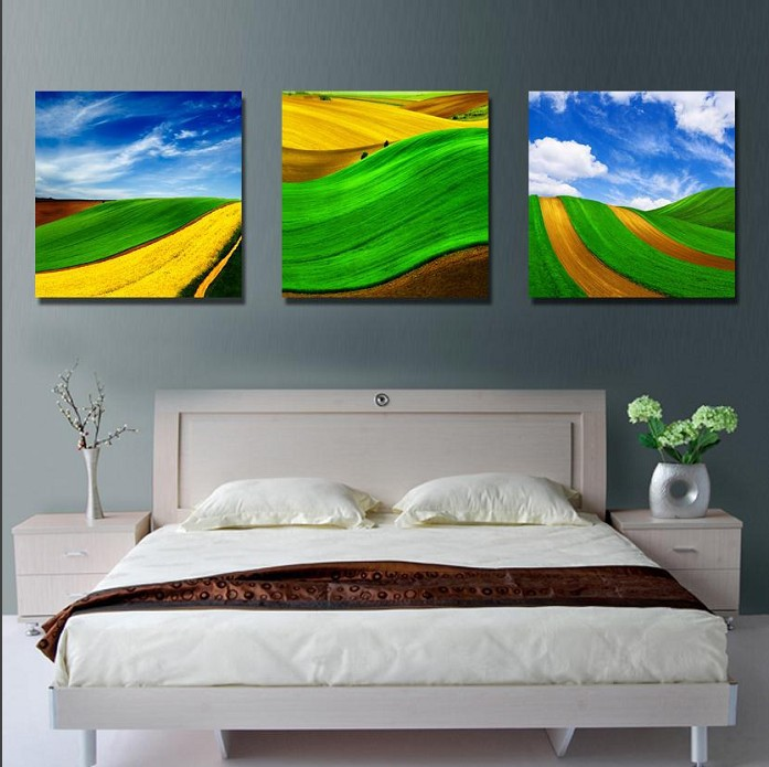 3 Piece Wall Art Hand Painted Pure hand-painted Flower grass Abstract Landscape Oil Painting On Canvas For Home Decoration pictu(China (Mainland))