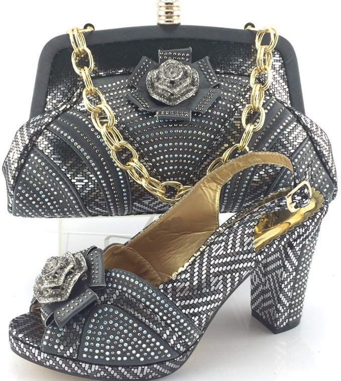 Free Shipping with 2016 Italian Shoes With Matching Bags For Party,High Quality African Shoes And Bags Set ME3331 Grey color.