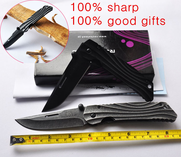 High quality ROCKSTEAD pocket knife folding knifes 440c stainless knife all steel handle hunting survival tactical