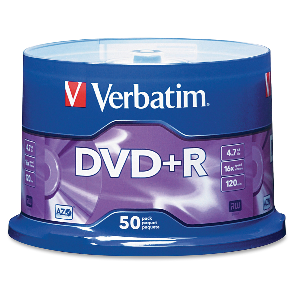 Verbatim DVD+R 4.7GB 120min 16X 50PK Spindle Branded Recordable Media Disc Compact Write Once Data Storage DVD 95037(China (Mainland))