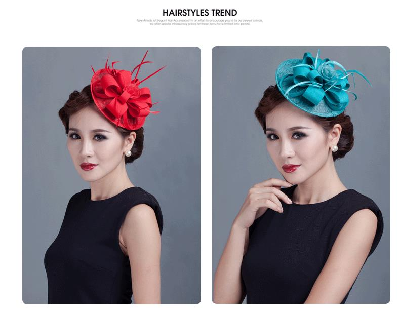 2015 new Lady royal red fascinators flower feather sinamay hats women hair accessories elegant fascinators wedding party races(China (Mainland))