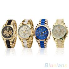 Hombres del reloj de moda ginebra acero inoxidable números romanos analógico de cuarzo relojes de pulsera 28DJ