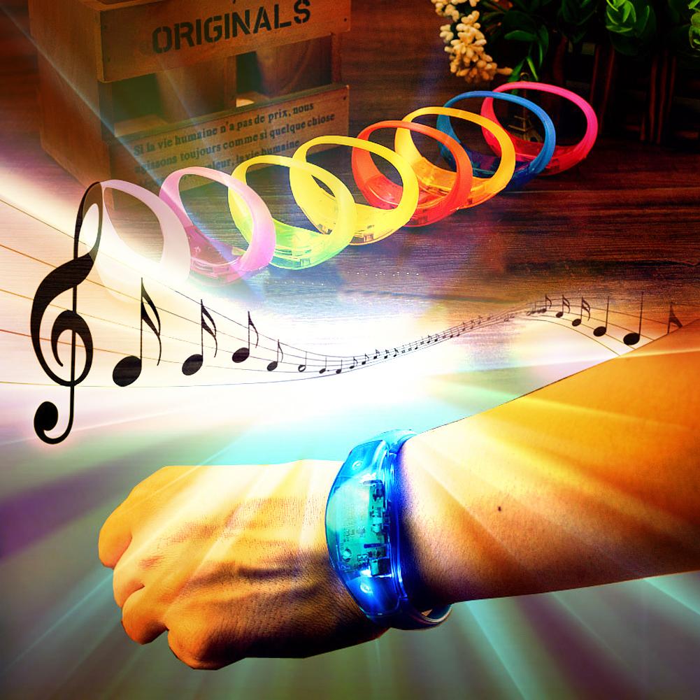 Luminous LED bracelet Sound vibration luminescence Silicone Bracelet Birthday Party Luminous Bracelet Event Party Supplies FG(China (Mainland))