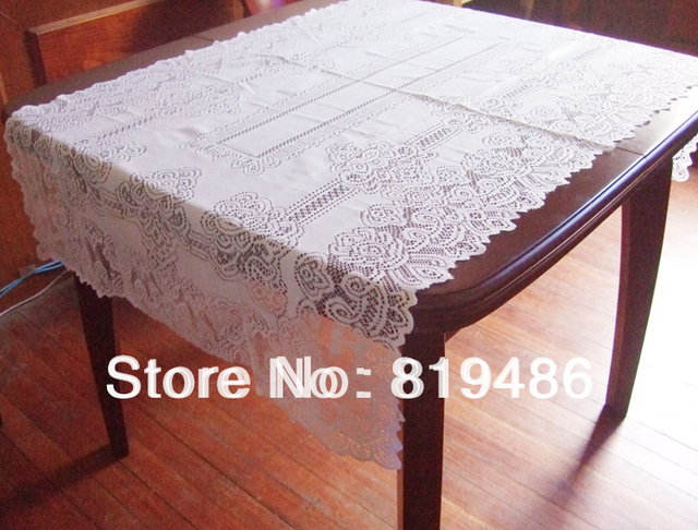"Free shipping floral lace table cloth 140*80cm(55""*32"") Square 100% polyester white color"