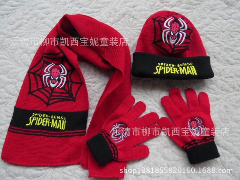 Hat and Scarf Children's Cap + gloves Hat Winter Cartoon Spiderman hats and scarves Winter Warm Knitted hat scarf set for kids