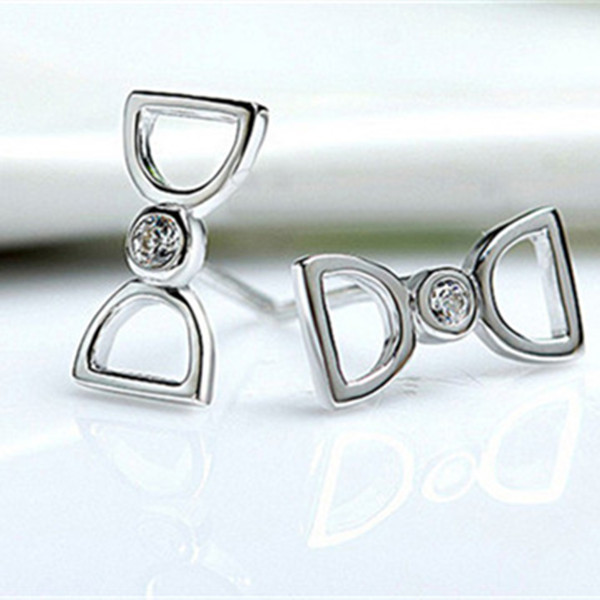 Fashion Vintage 925 Sterling Silver Bowknot Crystal Stud Earrings Man From the Stars Jewelry Accessories(China (Mainland))