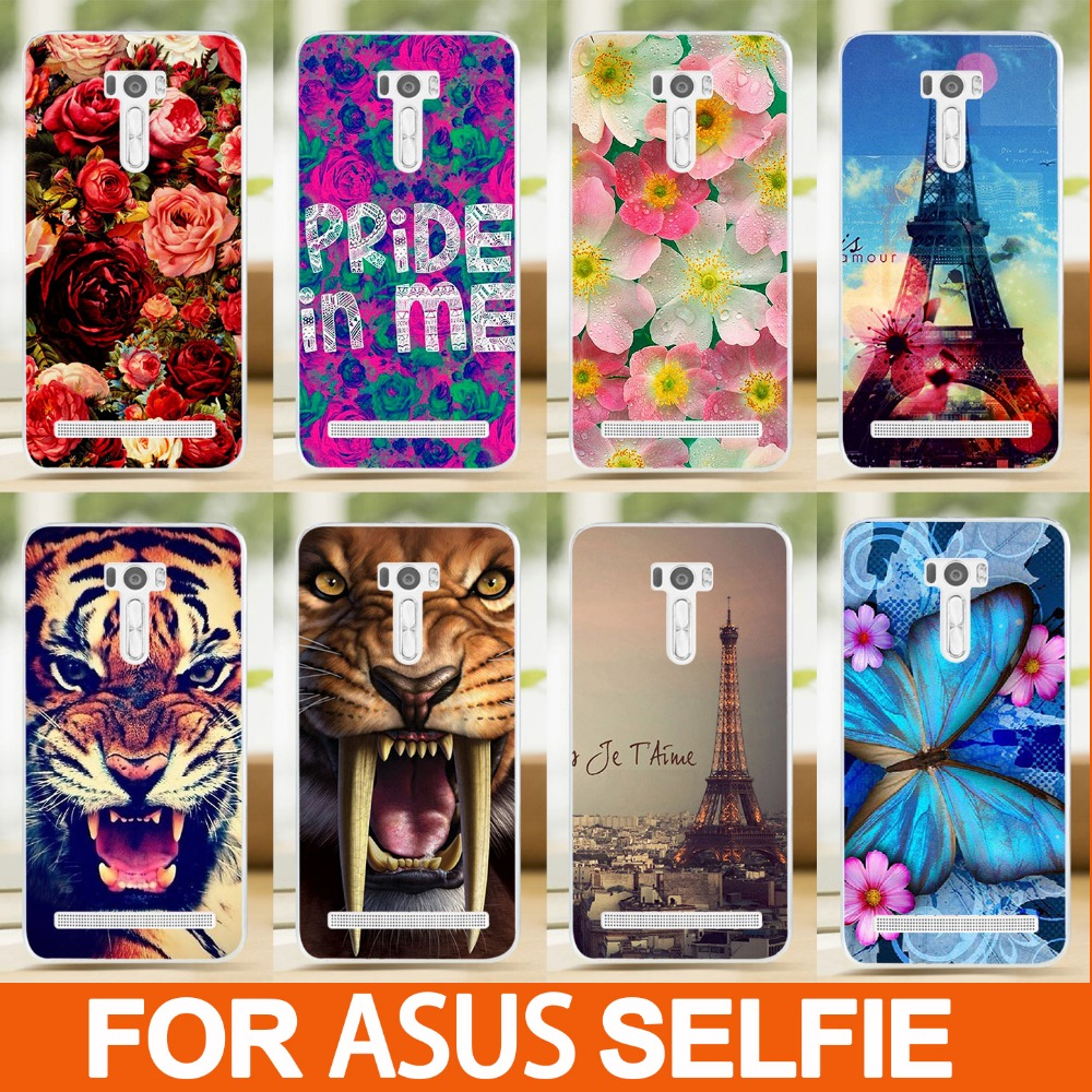 fashion diy painted Colored animals flowers eiffel towers design hard Case cover skin sheer For Asus Zenfone Selfie ZD551KL(China (Mainland))