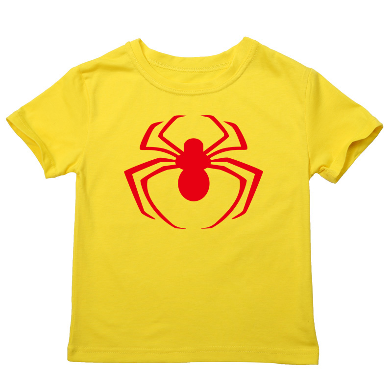 new fashion spiderman cartoon logo t-shirt kids boys clothes short sleeve cotton summer tops baby wears for 2-14 years(China (Mainland))