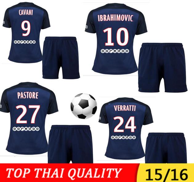 15/16 Maillot de Foot 2015 2016 IBRAHIMOVIC Soccer Jersey kits Homme CABAYE Jersey T.SILVA home Blue Survetement FOOTBALL 15 16(China (Mainland))