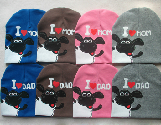 I Love Mom Dad Baby Toddler Cap Funcky Letters and Cow Design For Kids Infant Boys Girls Knit Beanie Sleeve Knitted Hat(China (Mainland))