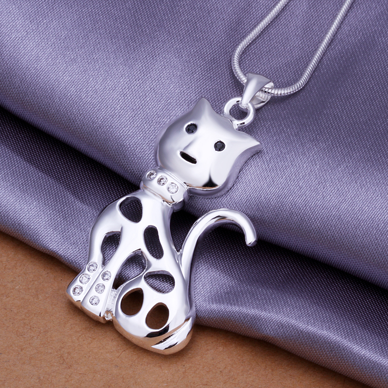 Jewelry - PBP321 / cute cat pendant necklaces silver plated stylish necklace for women fashion wholesale jewelry items(China (Mainland))