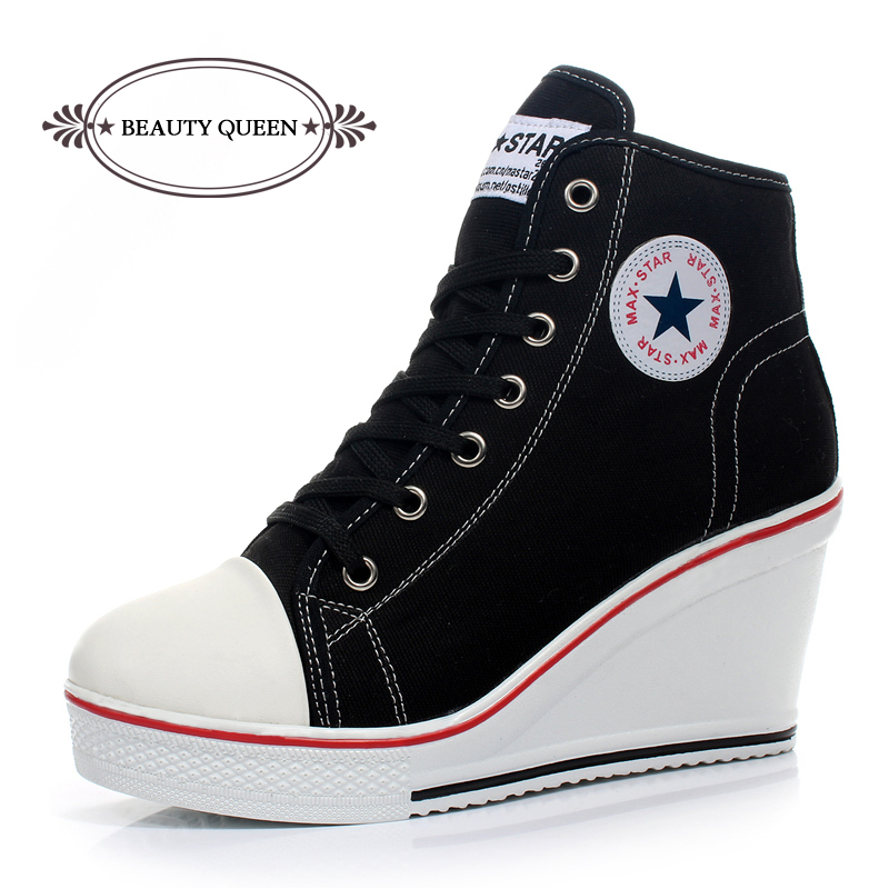 Free shipping 2015 badge wedges high lacing casual elevator shoes female canvas shoes high top wedge sneakers women sport shoes(China (Mainland))