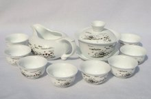 10pcs smart China Tea Set, Pottery Teaset,White Snow,A3TM17, Free Shipping