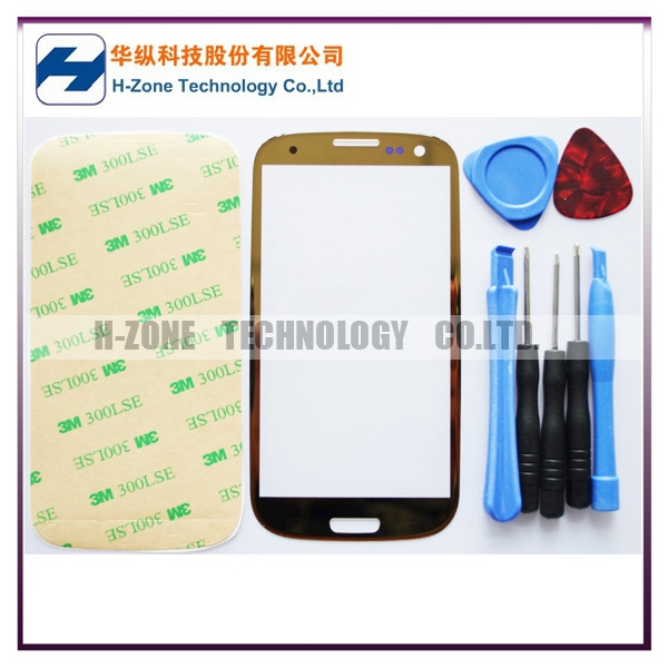 SG/HK Post Free Golden Front Outer Lens Glass LCD Screen Cover For Samsung Galaxy S3 SIII i9300 Replacement+Tools+Adhesive(Hong Kong)
