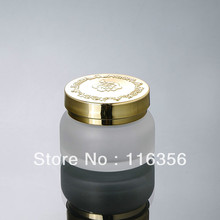 50G  frosted glass bottle with gold lid, glass lotion bottle, press pump bottle