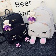 Buy Cat Backpack Black Preppy Style School Backpacks Funny Pu Leather Fashion Women Shoulder Bag Travel Back Pack Sac Dos for $18.89 in AliExpress store