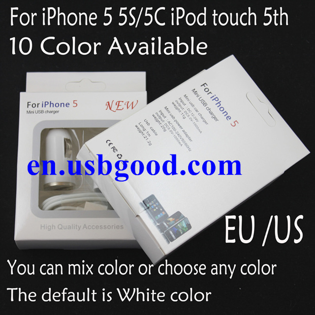 10sets/lot retail packing EU 3IN1 charger For iPhone 5 5C/5S eu Plug AC Wall Charger + usb Car Charger + usb Cable
