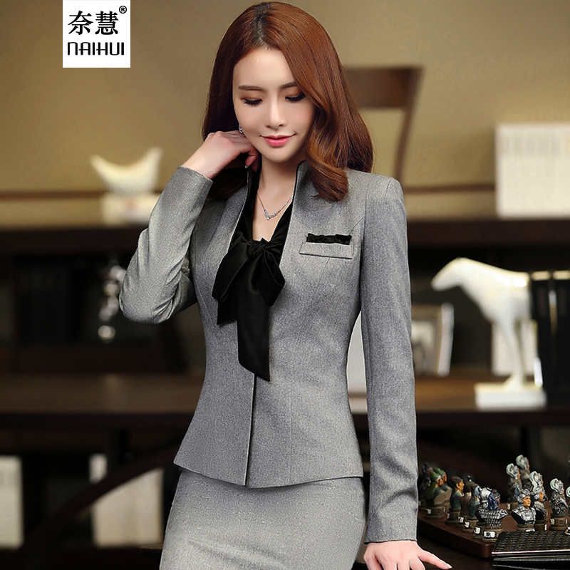 2017 New Korean Fall winter fashion women V-neck suits skirt career OL blazer and skirt office coat Jackets gray plus size sets