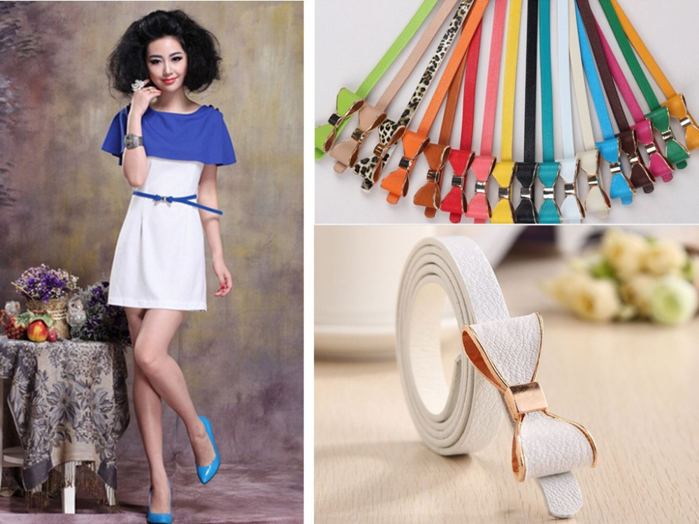 2015 Fashion women's belts clothing accessories BOWKNOT belts waist PU dress belts 13candy colors(China (Mainland))