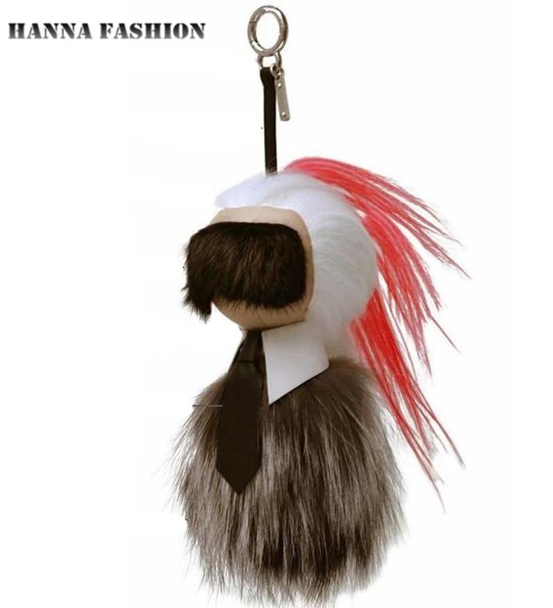 Karlito plush toys Charm pendant real fur pompom F monster fur ball Key Chains bag hanging drop Bag Tag Leather Accessories(China (Mainland))