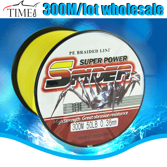 TIMES new brand Free shipping Super cheap PE braid 300m 6/20/30/50/100lb fishing line for pole Spiderwire carp(China (Mainland))