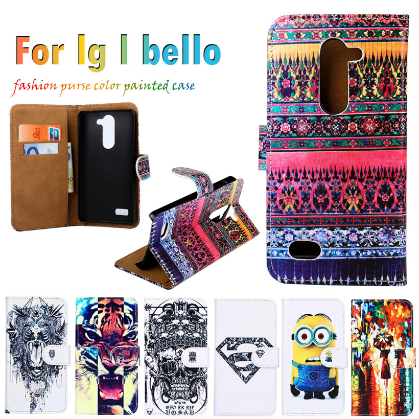 Superb Sheath Flip Holster For LG L Bello D331 D335 L Prime D337 5.0 inch Case DIY Painted Leather Hot Selling Anti-knock Cover(China (Mainland))
